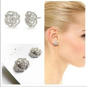 """Kate Spade NWOT Silver """"Rose""""  Pave Stud Earrings"""
